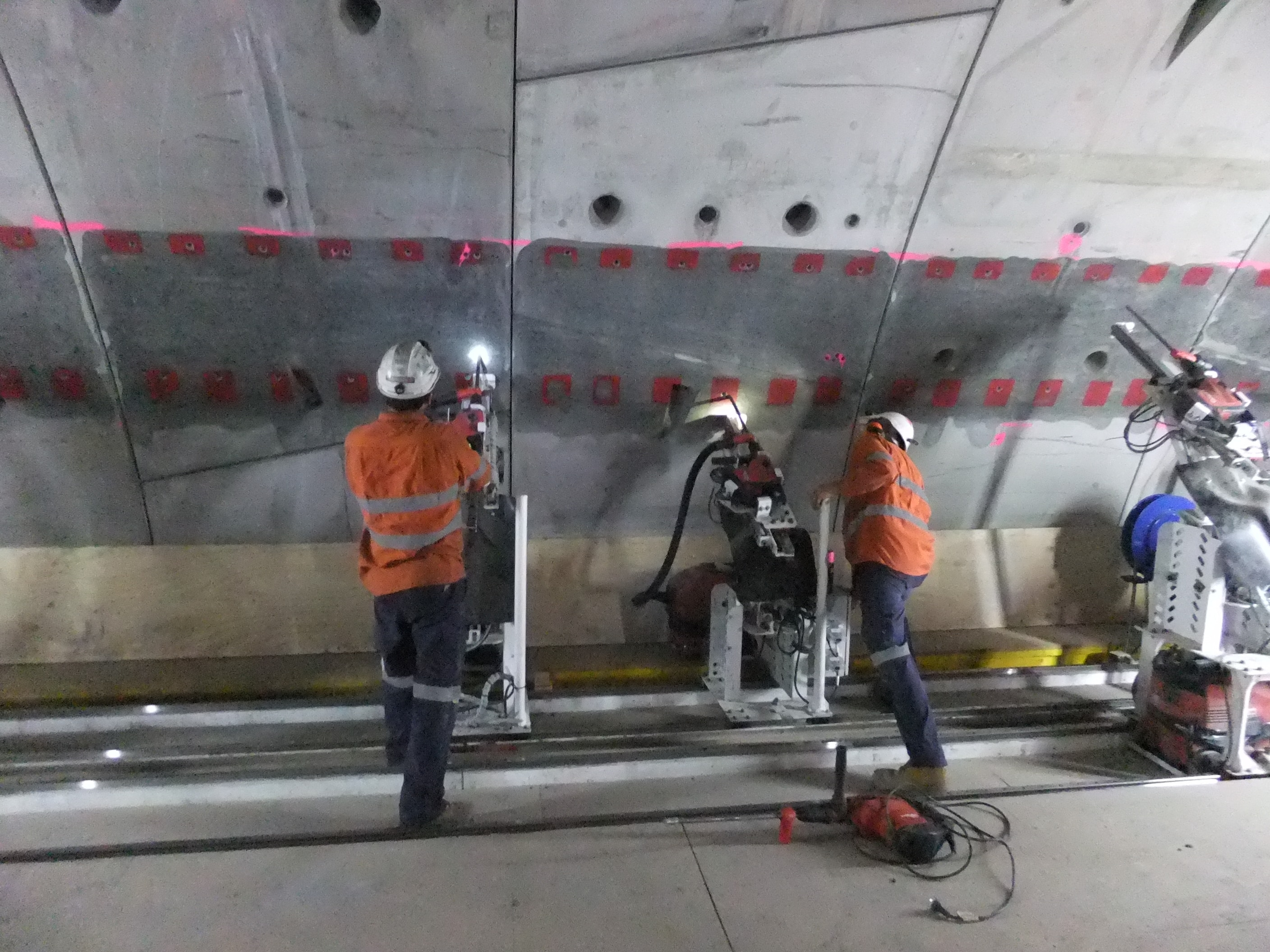 Herrenknecht rig and Hilti hammer drills and vacuums on the Legacy Way Tunnel in Brisbane