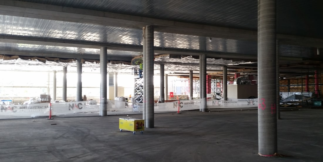 New concrete columns in carpark