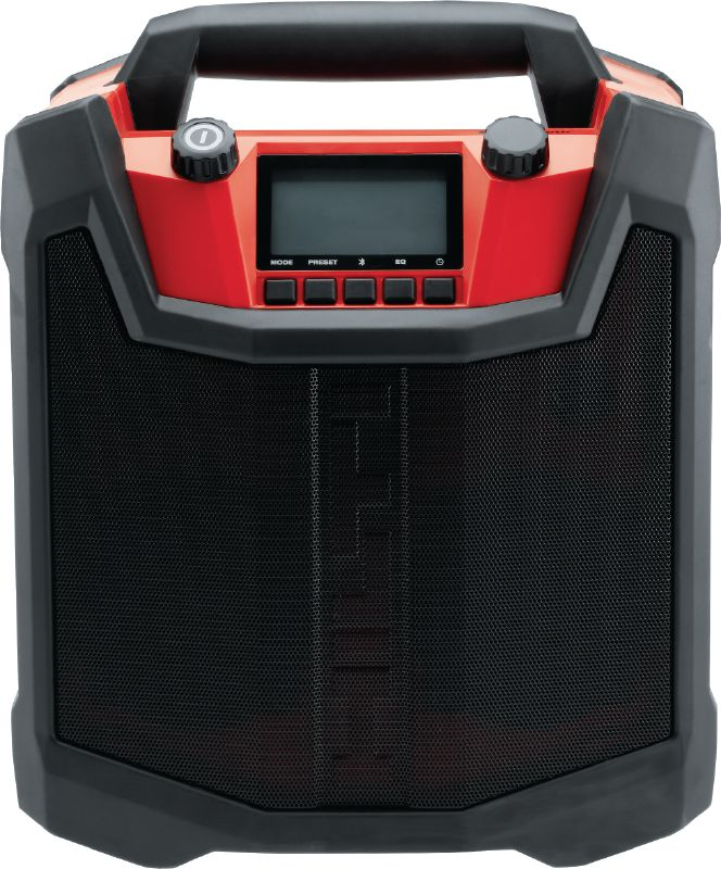 RC 4/36-DAB Radio Robust jobsite radio with NFC for Bluetooth® pairing and featuring a charger for all 12V – 36V Hilti Li-ion batteries
